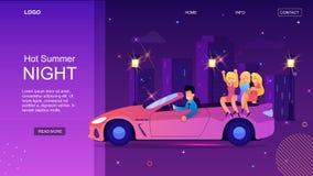 Cabriolet för tecknad filmmandrev med kvinnan på natten royaltyfri illustrationer