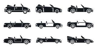 Cabriolet geplaatste autopictogrammen, eenvoudige stijl stock illustratie