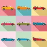 Cabriolet geplaatste pictogrammen, vlakke stijl vector illustratie