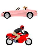 Cabriolet and motorcycle Stock Images