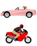 Cabriolet och motorcykel vektor illustrationer