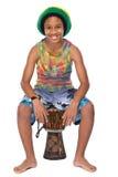 Cabrito afroamericano joven con su conga Fotografía de archivo