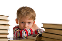 Cabrito cansado con los libros Imagen de archivo libre de regalías