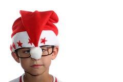 Cabrito cobarde de la Navidad con los vidrios Foto de archivo libre de regalías