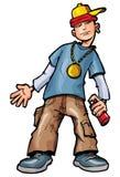 Cabrito de la historieta con spraycan stock de ilustración