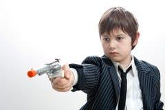 Cabrito del gángster que apunta alguien Foto de archivo libre de regalías