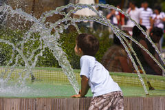 Cabrito que juega con la fuente de agua Foto de archivo