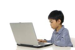 Cabrito que juega el ordenador Foto de archivo libre de regalías