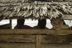 Cabrito que mira furtivamente de la choza de bambú Imagen de archivo