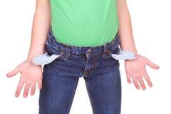 Cabrito que muestra los bolsillos vacíos Fotos de archivo