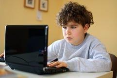 Cabrito usando el ordenador Foto de archivo libre de regalías