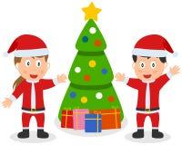 Cabritos, árbol y regalos de Papá Noel stock de ilustración