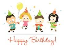 Cabritos 2 del feliz cumpleaños stock de ilustración
