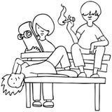 Cabritos aburridos - blancos y negros stock de ilustración