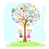 Cabritos bajo árbol de la sabiduría stock de ilustración
