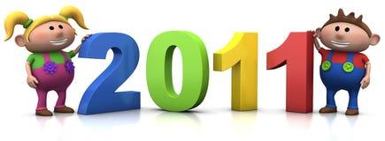 Cabritos con 2011 números stock de ilustración