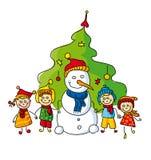 Cabritos con el muñeco de nieve Imagen de archivo libre de regalías