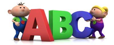 Cabritos con las cartas del ABC stock de ilustración