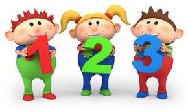 Cabritos de la escuela con 123 números libre illustration
