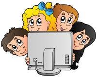 Cabritos de la historieta con el ordenador Foto de archivo libre de regalías