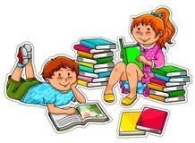 Cabritos de la lectura stock de ilustración