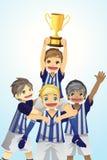 Cabritos del deporte que levantan el trofeo Foto de archivo libre de regalías