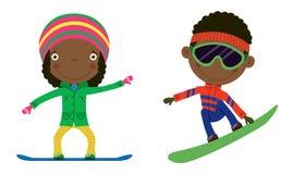 Cabritos del Snowboard Fotografía de archivo