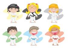 Cabritos en alineada del karate Foto de archivo libre de regalías