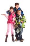 Cabritos en ropa del invierno Foto de archivo