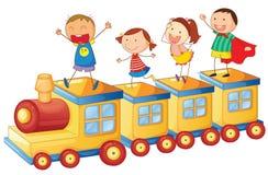 Cabritos en un tren stock de ilustración