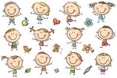 Cabritos felices del doodle stock de ilustración