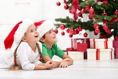 Cabritos felices delante del árbol de navidad Foto de archivo