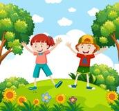 Cabritos felices en el jardín ilustración del vector