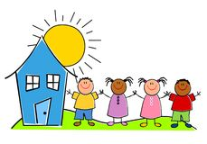 Cabritos infantiles con una casa Fotos de archivo libres de regalías