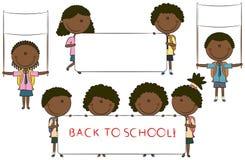 Cabritos lindos de la escuela del African-American feliz Ilustración del Vector