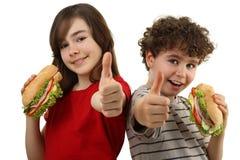 Cabritos que comen los emparedados sanos Imagen de archivo