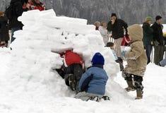 Cabritos que construyen un iglú (casa de la nieve) Imagenes de archivo
