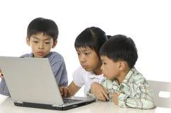 Cabritos que juegan el ordenador Imágenes de archivo libres de regalías