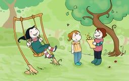 Cabritos que juegan en el parque ilustración del vector