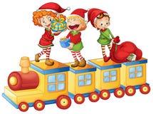 Cabritos que juegan en el tren libre illustration