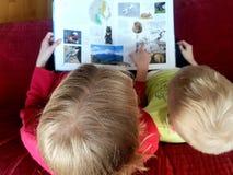 Cabritos que leen un libro fotografía de archivo
