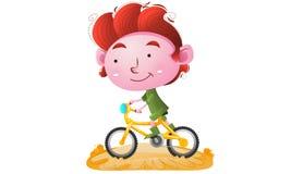 Cabritos que montan una bici stock de ilustración