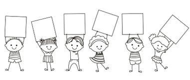 Cabritos que sostienen la bandera Imágenes de archivo libres de regalías