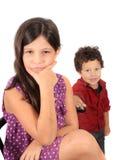 Cabritos, un muchacho y una muchacha Fotos de archivo