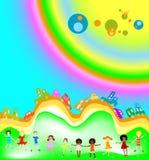 Cabritos y arco iris libre illustration