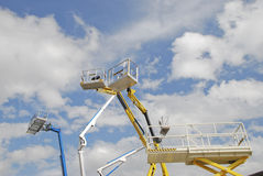 Cabs aerial lifts. Cabs of elevators with blue sky background Stock Photography