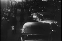 Cabs lining New York City street, 1930s stock footage