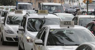 Cabs row wide Royalty Free Stock Image