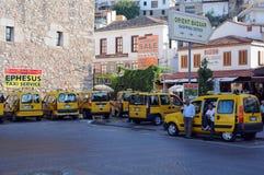 Cabstand in Kusadasi. Yellow cabs at the cab-stand in the town of Kusadasi in Turkey on the 24th of September, 2009 Royalty Free Stock Image