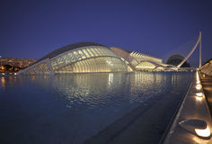 CAC by night. Panorama with several buildings in the city of arts and sciences Stock Image